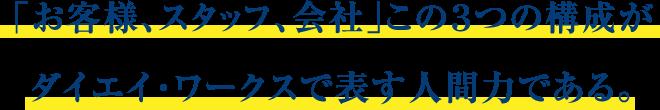 「お客様、スタッフ、会社」この3つの構成がダイエイ・ワークスで表す人間力である。